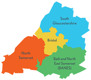 A mapping showing the area defined as the West of England.