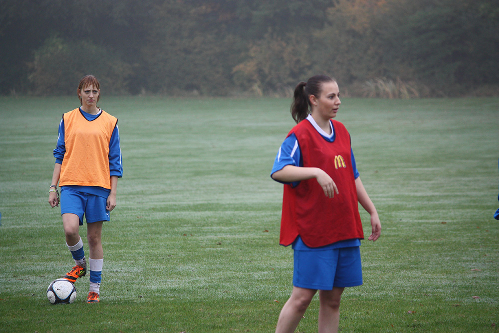 Two female football players