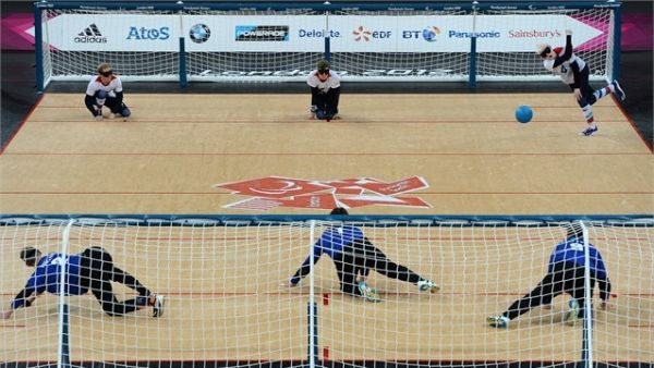 picture of a Goalball court, with two teams ready to play.