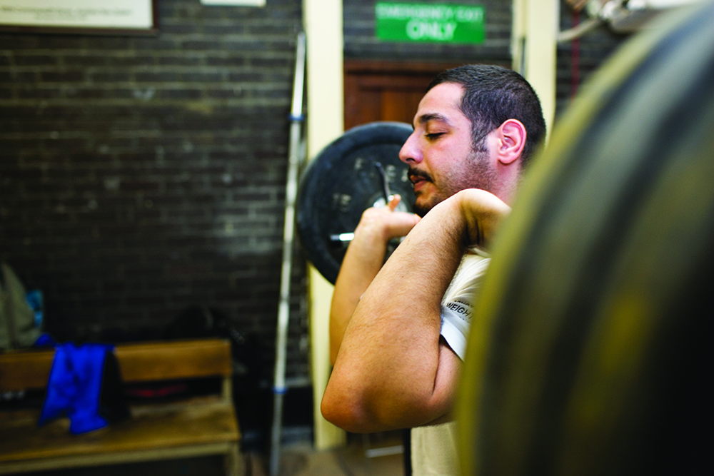 A man weightlifting