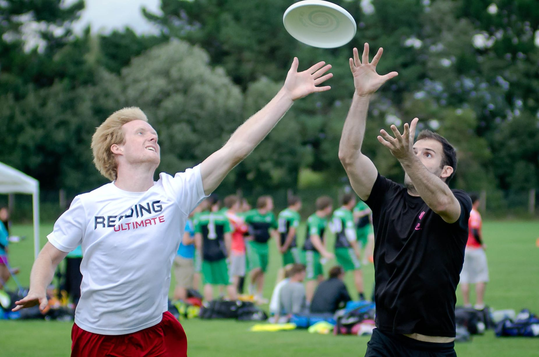 Two mean contesting for the frisbee
