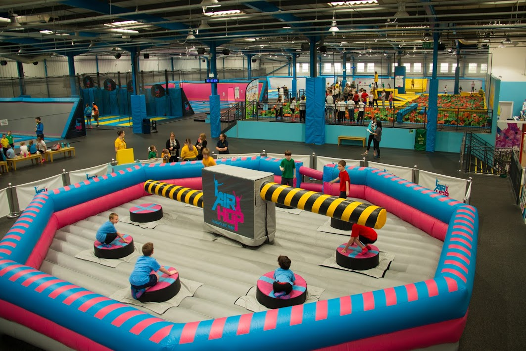 Children having a bounce at airhop