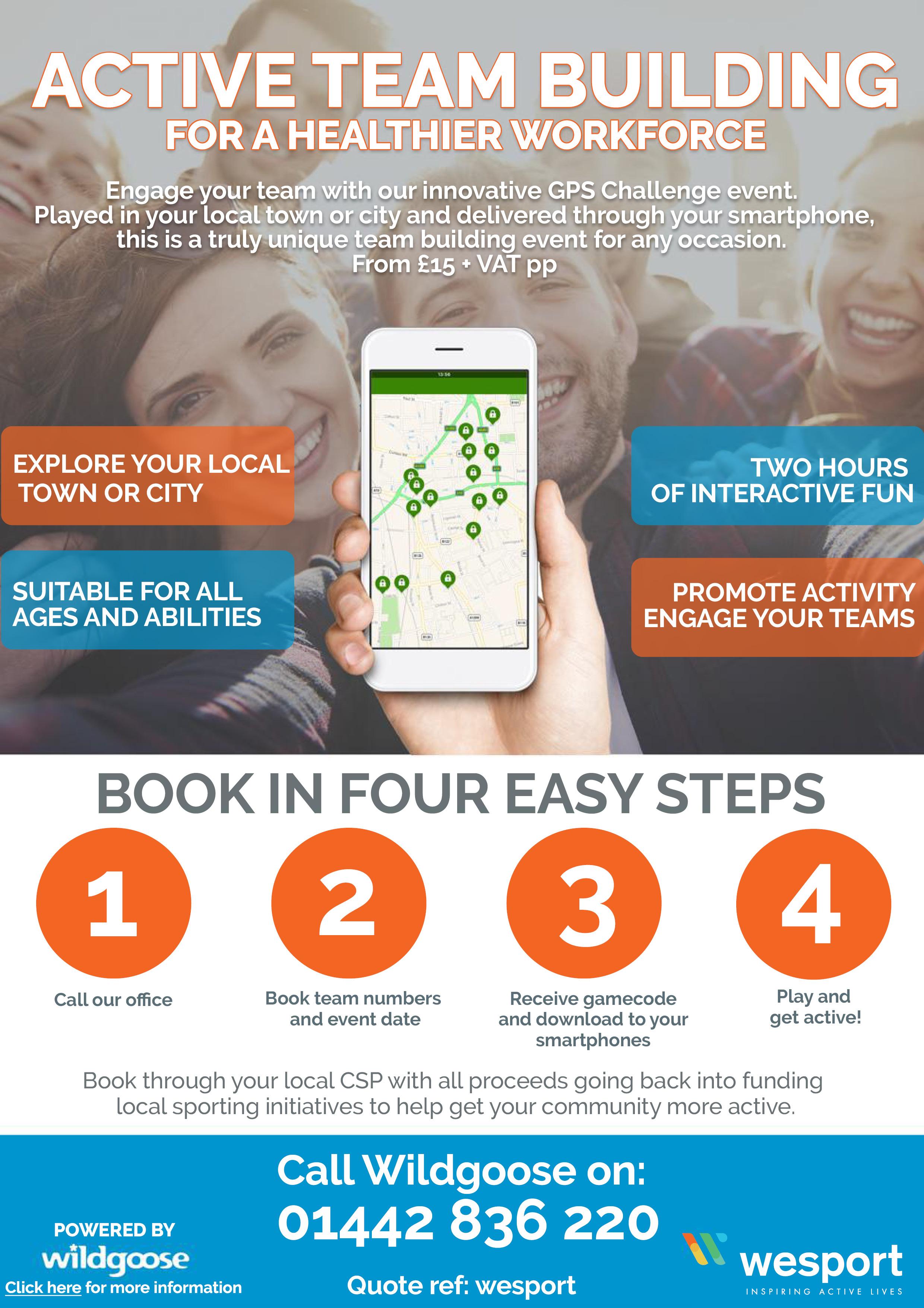 Wesport and Wildgoose Team Building Challenge Flyer